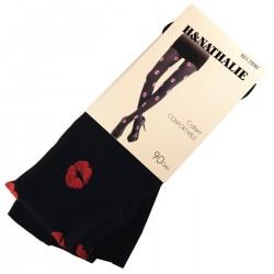 Pack de 2 Collants Confort Motif Kiss 90DEN Noir