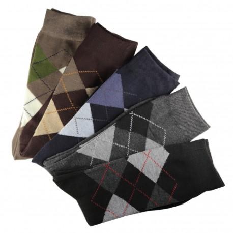 Pack de 12 Paires Chaussettes Assorties Homme Ecossais Coton