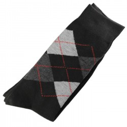 Pack de 2 Paires Chaussettes Homme Classique Ecossais Coton Noir