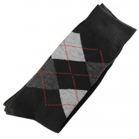 Chaussettes Homme Classique Ecossais Coton Noir
