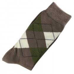 Pack de 2 Paires Chaussettes Homme Classique Ecossais Coton Camel