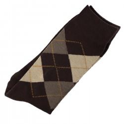 Pack de 2 Paires Chaussettes Homme Classique Ecossais Coton Marron