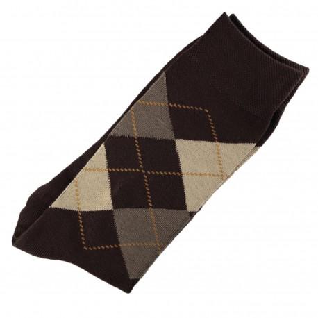 Chaussettes Homme Classique Ecossais Coton Marron