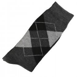 Pack de 2 Paires Chaussettes Homme Classique Ecossais Coton Gris
