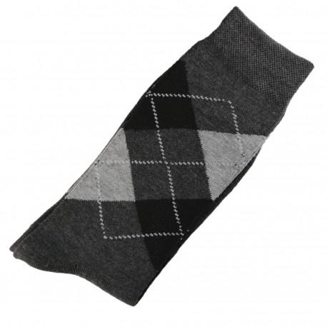 Chaussettes Homme Classique Ecossais Coton Gris