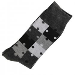 Pack de 2 Paires Chaussettes Homme Classique Puzzle Coton Gris Anthracite