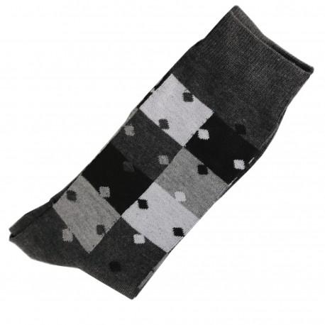 Pack de 2 Chaussettes Homme Classique Puzzle Coton Gris Anthracite