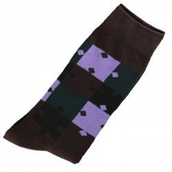 Pack de 2 Paires Chaussettes Homme Classique Puzzle Coton Marron