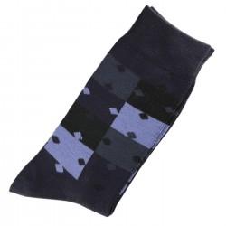 Pack de 2 Paires Chaussettes Homme Classique Puzzle Coton Bleu Marine