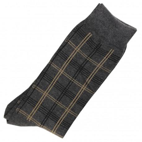 Pack de 2 Chaussettes Carreaux Homme Classique Coton Gris Anthracite