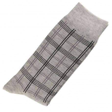 Pack de 2 Chaussettes Carreaux Homme Classique Coton Gris