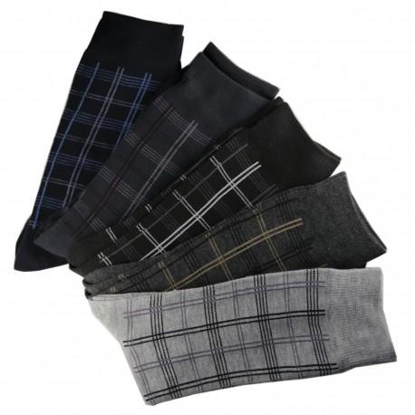 Pack de 6 Paires Chaussettes Carreaux Assorties Homme Coton
