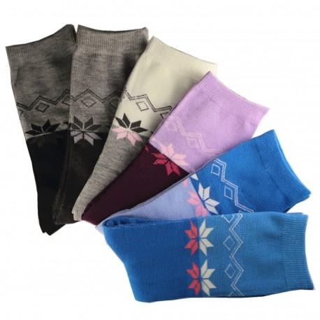 Pack de 6 Paires Chaussettes Femme Assorties Coton bicolore