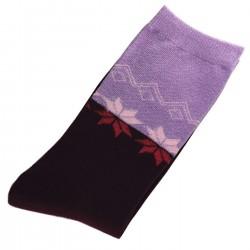 Pack de 2 Paires Chaussettes Femme Coton Bicolore Mauve/Violet