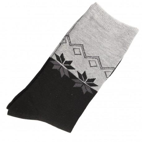 Chaussettes Femme Coton bicolore Gris/Anthracite