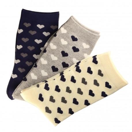 Pack de 6 Paires Chaussettes Assorties Femme Coton Petit Coeur
