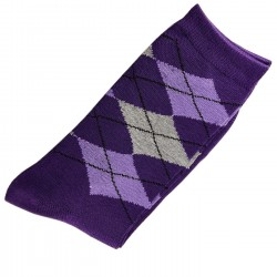 Pack de 2 Paires Chaussettes Femme Coton Ecossais Violet