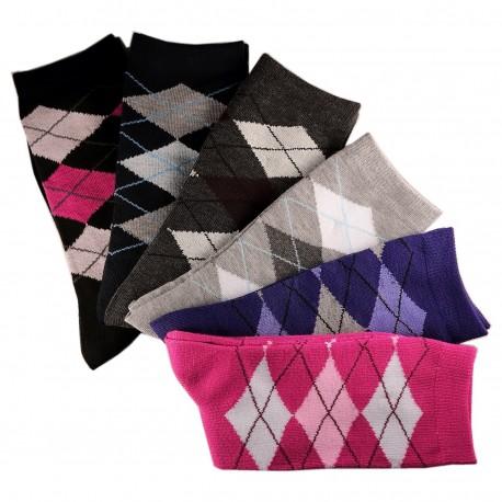 Pack de 12 Paires Chaussettes Assorties Femme Coton Ecossais