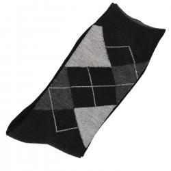 Pack de 2 Paires Chaussettes Femme Coton Ecossais Noir