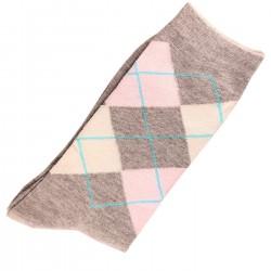 Pack de 2 Paires Chaussettes Femme Coton Ecossais Gris