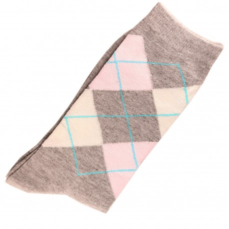 Chaussettes Femme Coton Ecossais Gris