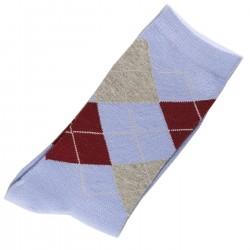 Pack de 2 Paires Chaussettes Femme Coton Ecossais bleu