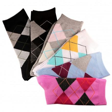 Pack de 12 Paires Assorties Chaussettes Femme Coton Ecossais Noir
