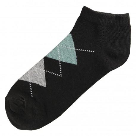 Pack de 3 Paires Socquettes Coton Femme Ecossais T.U. Noir