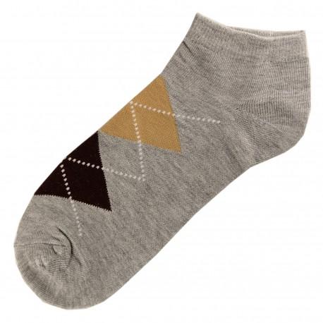 Pack de 3 Paires Socquettes Coton Femme Ecossais T.U. Gris