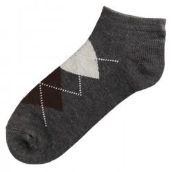 Pack de 3 Paires Socquettes Coton Homme Ecossais T.U. Gris Foncé