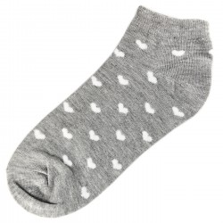 Socquettes Coton Coeur Femme T.U. Gris