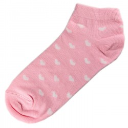 Socquettes Coton Coeur Femme T.U. Rose