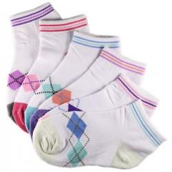 Pack de 6 Paires Chaussettes Assorties Fille Coton Motifs Ecossais
