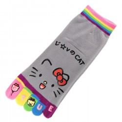 Pack de 2 Paires Socquettes à doigts CHAT Love Cat Gris T.U.
