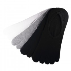 Pack de 4 Paires Socquettes INVISIBLE à doigts Assorties T.U.