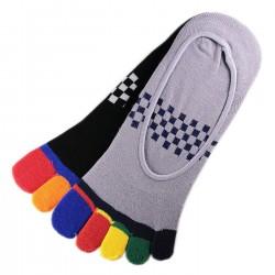 Pack de 5 Paires Socquettes INVISIBLE à doigts Assorties T.U.