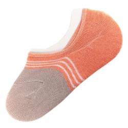Pack de 2 Paires Socquettes Invisible Anti-dérapant Orange T.U.