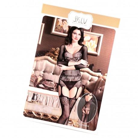 Body Collant Ouvert Résille Effet Portejarretelles SEXY TU - Porte jarretelle sexy